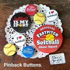 8 New Packaged Softball Pins * Pinback Buttons Badges Team Gift * USA DecoWords  #DecorativeGreetingsInc #PinbackBUTTONBADGE