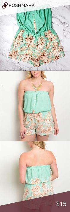Plus Size Mint & Peach Floral Strapless Romper This is a Mint and Peach Floral Strapless Romper. It is super cute and great for Spring and Summer.  It is TTS. It is polyester and does not stretch. It falls nicely.  Color is more accurate in my picture. The stock picture is over exposed and it dulls the color. Shorts
