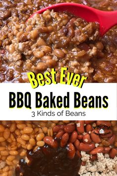 Easy recipe for making BBQ Baked Beans. This Barbeque beans recipe uses 3 kinds of beans with bacon and ground beef. Delicious leftover. Serve with any meat during grilling season. #sidedish #grillingseason #bakedbeans Baked Bean Recipes, Quick Recipes, Apple Recipes, Pork Recipes, Crockpot Recipes, Holiday Recipes, Baked Beans With Bacon, One Dish Dinners, Bulk Food