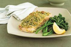 Pesto-crusted salmon