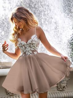 A Line V Neck Short Champagne Lace Prom Dresses, Short Champagne Lace Formal Graduation Dresses Sexy Homecoming Dresses, Hoco Dresses, Prom Party Dresses, Freshman Homecoming Dresses, Party Gowns, Short Dresses For Prom, Beautiful Short Dresses, Short Graduation Dresses, Short A Line Dress