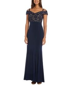 Look what I found on #zulily! Navy & Nude Lace-Accent Cutout Gown #zulilyfinds