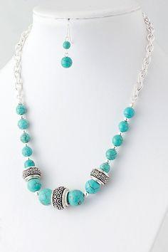 DivaByDzine - Filigree Bead Turquoise Necklace Set, $10.00 (http://www.divabydzine.com/filigree-bead-turquoise-necklace-set/)