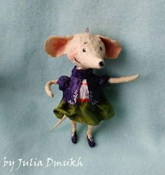 OOAK Art doll Easter ornaments Sunny mousy Collectibles art doll Batting doll Cotton figurines Cotton spun ornamets Vintage doll