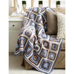 Deco Blocks Blanket free crochet afghan pattern link on yarnspirations Crochet Afghans, Afghan Crochet Patterns, Knit Or Crochet, Free Crochet, Free Knitting, Knitting Patterns, Blanket Crochet, Blanket Yarn, Afghan Blanket