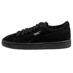 buy online cc635 f866e PUMA Suede Jr 35511052 Black Silver Suede Classic Casual Shoes Medium Youth  Blacks 6   eBay
