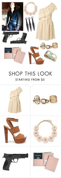 """""""Natasha Romanoff: Undercover"""" by jordynn-nicole-fishy ❤ liked on Polyvore featuring Steve Madden, J.Crew, Smith & Wesson and Royce Leather"""