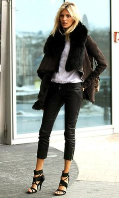 black fur trimmed jacket, leather cropped jeans