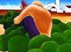 Saatchi Online Artist William Cain; Painting, MAN EATING MELON #art   Now available archival prints on canvas or paper add a frame if you like.Just click the link. PLEASE SHARE AND PASS IT ALONG TO YOUR FRIENDS.