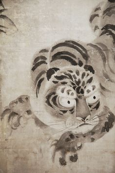 Japanese Four Panel Screen: Leaping Tiger and Bamboo - Naga Antiques Asian Wall Art, Japanese Screen, Silk Brocade, 18th Century, Deer, Bamboo, Antiques, Prints, Animals
