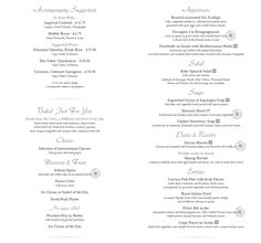 Msc Preziosa Main Dining Room Menu