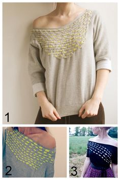 Three Woven Shirt Tutorials I've posted:  DIY Woven Jersey Sweatshirt I posted first (The Forge) here.  DIY Woven Tee Shirt Restyle (Trash to Couture) here.  DIY Woven Tee Shirt (The Fashion Spot) here.