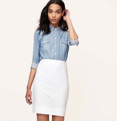 Curvy Fit Cotton Eyelet Pencil Skirt | Loft