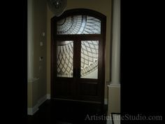 Contemporary stained and leaded glass front enrance door inserts with acid etched glass and jewels adding privacy and beauty. Front Door Entrance, Front Door Colors, Glass Front Door, Sliding Glass Door, Front Entrances, Front Doors, Stained Glass Door, Leaded Glass, Beveled Glass