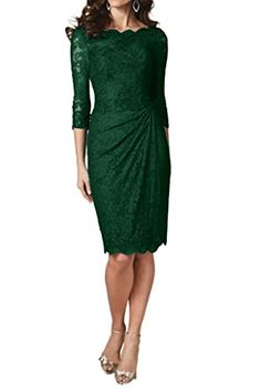 Ivydressing Elegant Sheath Knee Length 3/4 Sleeve Lace Co…