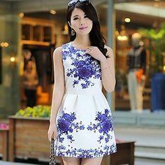 De las mujeres sin mangas de la porcelana de la impresión floral del mini vestido de la llamarada – USD $ 14.69