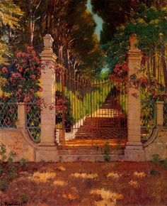 Paintings of Spring: Santiago Rusiñol februarie 1861 – 13 iunie pictor și scriitor catalan Spanish Painters, Spanish Artists, Garden Painting, Oil Painting Reproductions, Paintings I Love, Western Art, Great Artists, Illustration, Art Gallery
