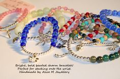 Collection of sterling silver and semi precious gemstone bracelets created just for Alice m customers.