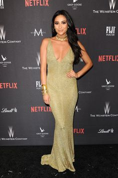 Shay Mitchell at a Golden Globes after party.
