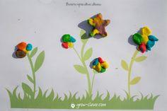 лепим цветы, шаблоны для лепки, игры с детьми летом, творчество с детьми летом