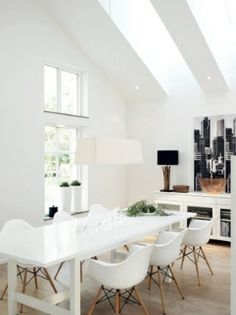 white dining room. another great example for swedish interior design
