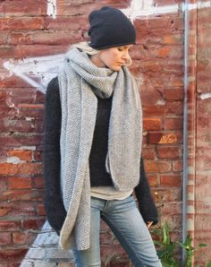 strik sjal i uld strikkekit