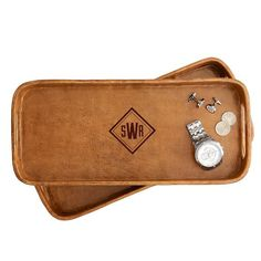 Help him gather all his odd-and-ends with the Rustic Leather Tray!