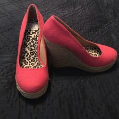 SALECoral Espadrille Wedges These coral wedges are perfect for summer! They have only been worn one time and show little sign of wear. Make me an offer! Shoes Wedges