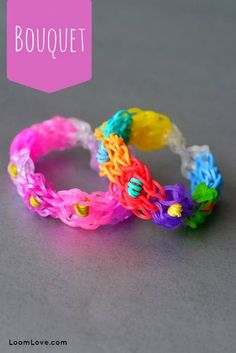 BOUQUET bracelet. Designed and loomed by Loom Love on the Rainbow Loom. Click on photo for YouTube tutorial.