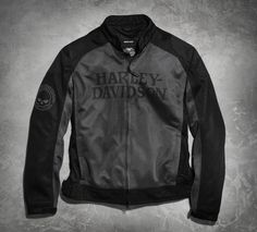 Reinforced shoulders and elbows give form to this lightweight functional jacket. Skull graphics in black translate to subtle, low-key style. | Harley-Davidson Men's Skull Mesh Riding Jacket