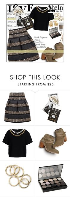 """""""SheIn: Black High Waist Skirt"""" by rosey-wolf-x ❤ liked on Polyvore featuring de Grisogono, Assouline Publishing, Boutique Moschino, Monsoon, NYX, Chanel, goldandblack, shein and sheinstyle"""