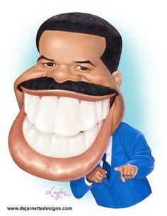 Steve Harvey Drawn in pencil & painted in Photoshop Cartoon Faces, Funny Faces, Cartoon Art, Cartoon People, Cartoon Characters, Funny Caricatures, Celebrity Caricatures, Celebrity Drawings, African American Art