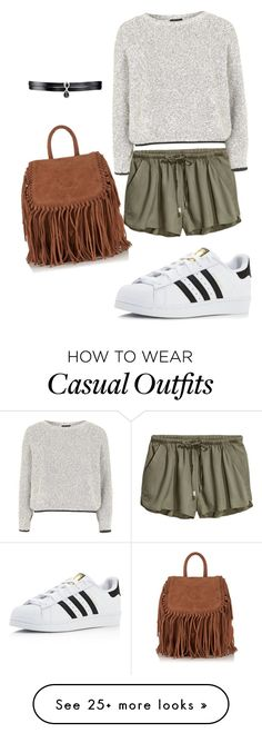 """Casual outfit for grey lovers"" by greyblack on Polyvore featuring Topshop, Superdry, adidas and Fallon"