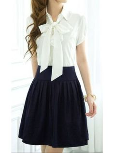 Bowtie Pleated A-Line Dress