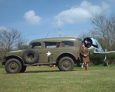 Dodge of 50's   OLD DODGE POWER WAGON T-6 TEXEN AIRCRAFT AND WW-2 ARMY NURSE. Note the very sharp uniform for women.