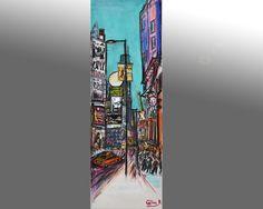 tableau peinture originale urbaine pastel Toronto Dundas Square Canada par Celinemodernart sur Etsy