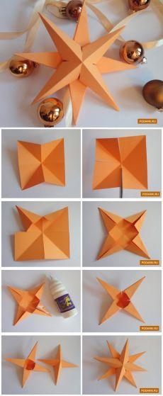 Объемная звезда изкартона  Для создания объемной звезды понадобится 15 минут. Звездами можно украсить ёлку или развесить их по комнате. Нам понадобится только картон, ножницы и клей. Приступим!