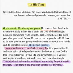 God's timing not mine