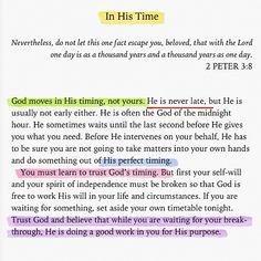 God's timing not mine