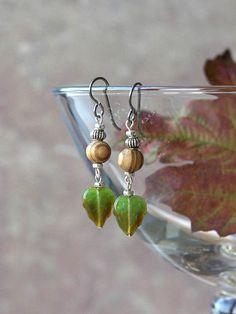 woodland earrings by HandmadeEarringsUK on etsy Dainty Earrings, Earrings Handmade, Drop Earrings, Wooden Beads, Woodland, Great Gifts, Sterling Silver, Autumn, Jewellery
