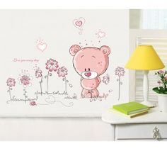 Tatty Bear with Flowers Wall Sticker available at www.kidzdecor.co.za. Free postage throughout South Africa