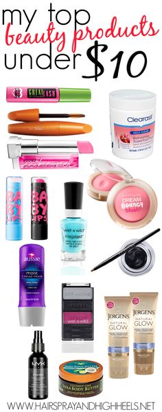 Best beauty products for under $10! Both mascaras shown are my favorite even after spending tons of money on expensive ones.... Also that blush is very nicely pigmented for when you want a big pop. The aussie conditioner smells great and makes your hair feel super soft.