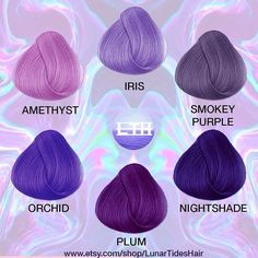 All purple everything! 6 of Lunar Tides purple shades - Lavender Hair - Hair Purple Iris, Hair Color Purple, Hair Dye Colors, Purple Bob, Pastel Purple Hair, Hair Color Shades, Dark Purple Hair Dye, Lavender Hair Dye, Short Purple Hair