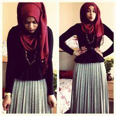 grey pleated maxi, black top & maroon hijab