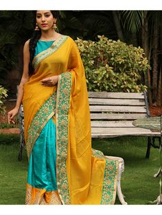 Firozi And Mustard Color 60gm Georgette Saree