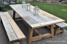 Reclaimed Wood Outdoor Dining Table Diy - How could you know what size and shape to pick for dining tables? Outdoor Farmhouse Table, Outdoor Dining, Outdoor Tables, Outdoor Decor, Diy Furniture Restoration, Restoration Hardware, Ana White, Diner Table, Diy Esstisch