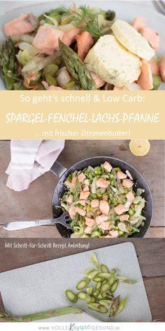 Schnelle Rezepte für die kohlenhydratarme Ernährung gesucht? Hier bekommst du ein Low Carb Rezept für die Feierabendküche. Gute Fette und Eiweiß aus Lachs, Nährstoffe aus dem Superfood Spargel! In Kombi mit Fenchel und herrlicher Zitronenbutter ein tolles Abendessen ohne Kohlenhydrate! Das Low Carb Rezept findest du auf www.volle-kanne-gesund.de #lchf #lowcarbrezept #spargel