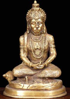 """View the Brass Golden Hanumanji Statue 7"""""""