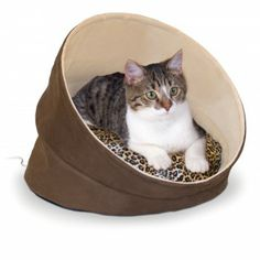 The Thermo-Kitty Cave™ is a great place for your cat to escape and cuddle up in a nice warm hiding spot. The design includes our 4-watt removable heater and the inside cushion is removable for easy wash and care.