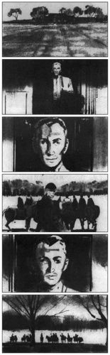 Storyboard sequence from ''Marnie''.